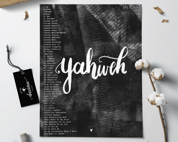 HAND-LETTERED Yahweh Giclée Art Print | Names of God The Great I AM | Jesus is Way Maker Miracle Worker Promise Keeper The way truth & life