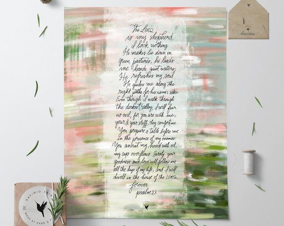 HAND-LETTERED Psalm 23 Giclée Art Print |