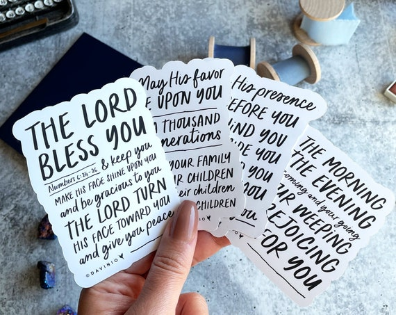THE BLESSING Vinyl Stickers | Numbers 6:24 The Lord bless you & keep you Make His face shine upon you Be gracious to you Give you peace Amen