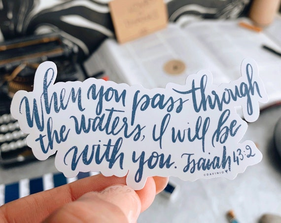 HAND-LETTERED Isaiah 43:2 & a handmade Painting of waves // When you pass through the waters I will be with you | Faithfulness of God