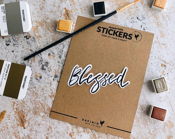 HAND-LETTERED Blessed Vinyl Sticker | The Blessing | My cup runs over | Overflowing Blessing | Living Water | Blessed is she | Fruitful