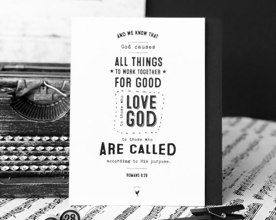 Romans 8:28 Giclée Art Print | Christian Journal | Scripture art | Christian Wall Art | God causes all things to work together for good