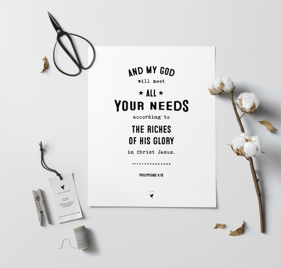 Philippians 4:19 Giclée Art Print | Christian Journal | God will meet all your needs according to the riches of his glory in Christ Jesus