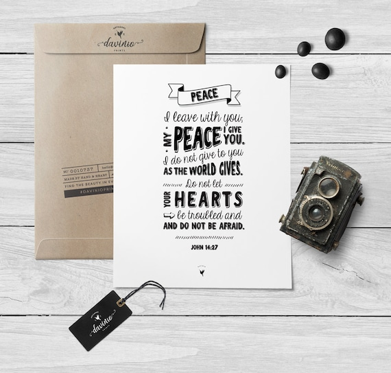 John 14:27 Giclée Art Print | Peace I leave with you; my peace I give you. Do not let your hearts be troubled and do not be afraid | Shalom