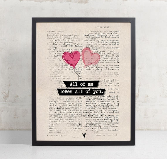 All of Me Loves All of You Vintage Dictionary Art, Love, Valentine's Giclée Art Print | Anniversary Gift | I love you Print