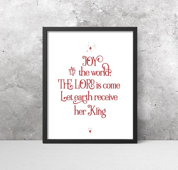 Joy to The World The Lord is Come Giclee Art Print | Red Christmas Decor | Red & White | Let Earth Receive her King | Christmas Hymn / Carol