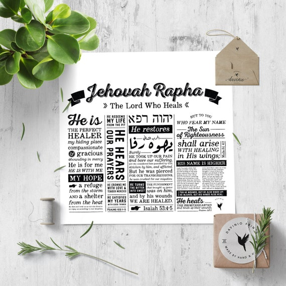 Jehovah Rapha Square Giclée Art Print | Names of God Collection | The Lord Who Heals | healing in His wings | by his wounds we are healed