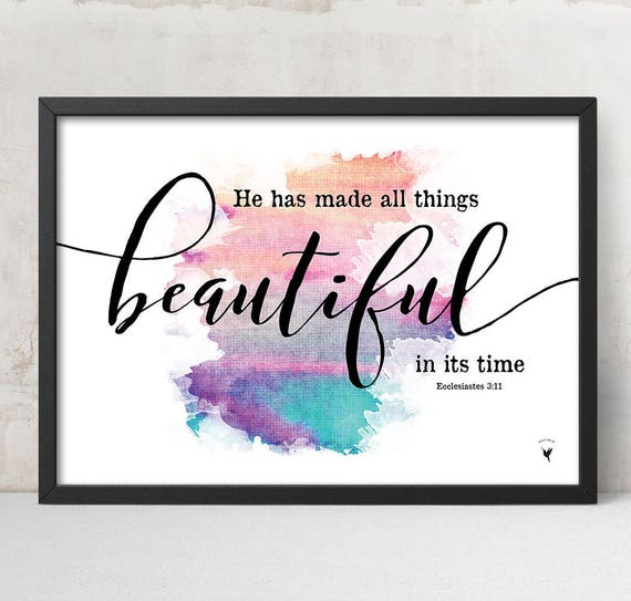 He Has Made All Things Beautiful Giclée Art Print | Christian Art | Trust in God | God's Timing | Horizontal Art | Eccl 3:11 | God is good