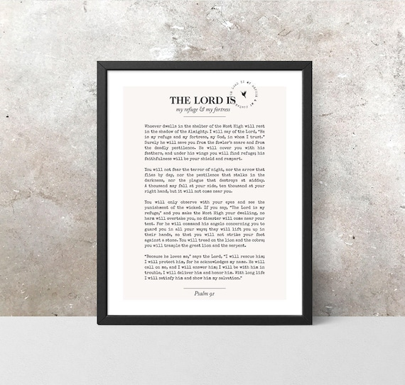 Psalm 91 Giclée Art Print | Christian Journal | Scripture art | Modern Christian art | The Lord is my refuge & fortress | Command His Angels