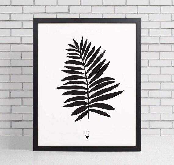 Tropical Palm Leaf Black 'n White Giclee Art Print | Scandinavian Art | Extreme Minimalism | Black & White | Nature Inspired