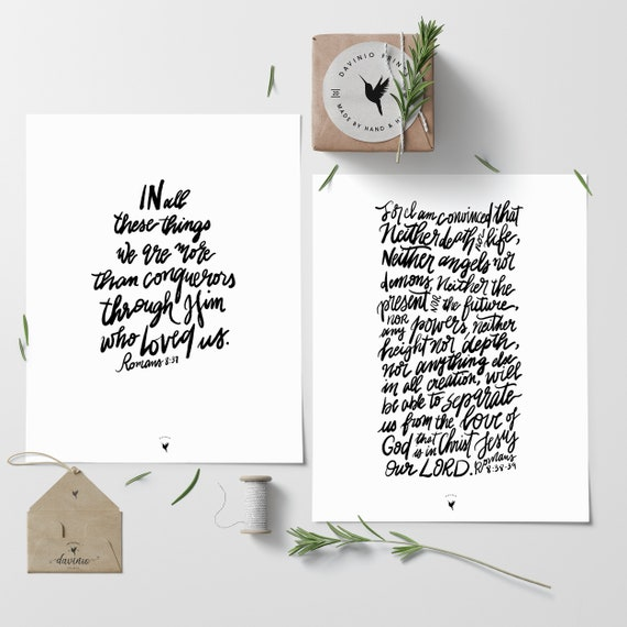 Romans 8:37-39 | Set of 2 Giclée Art Prints | More than Conquerors. Neither death nor life can separate us from the love of Christ Jesus