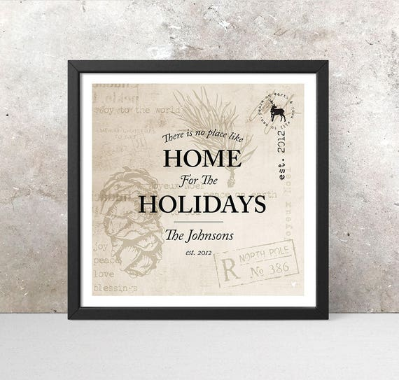 Personalized // No place like Home for the Holidays Giclee Art Print | Vintage Christmas Decor | Square Print | Family Name & Date | Gift