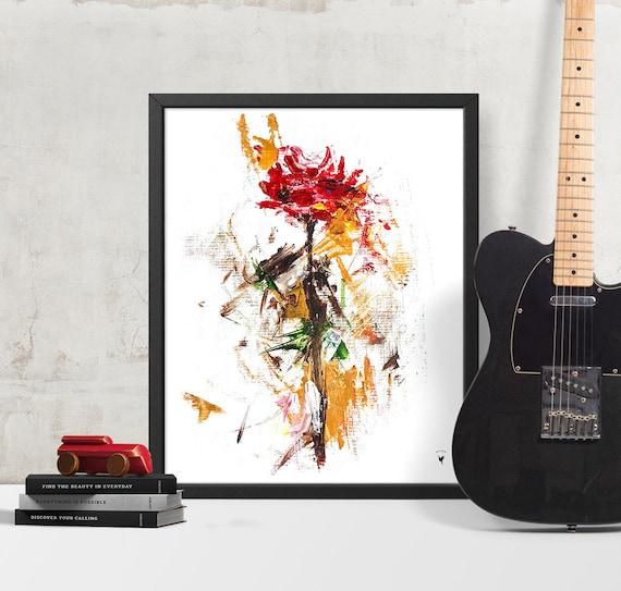 Abstract Rose Giclée Art Print | Rose Original Painting | Spring Decor | Red Flower | Botanical Floral | Handmade | Floral Wall Art | Fleur