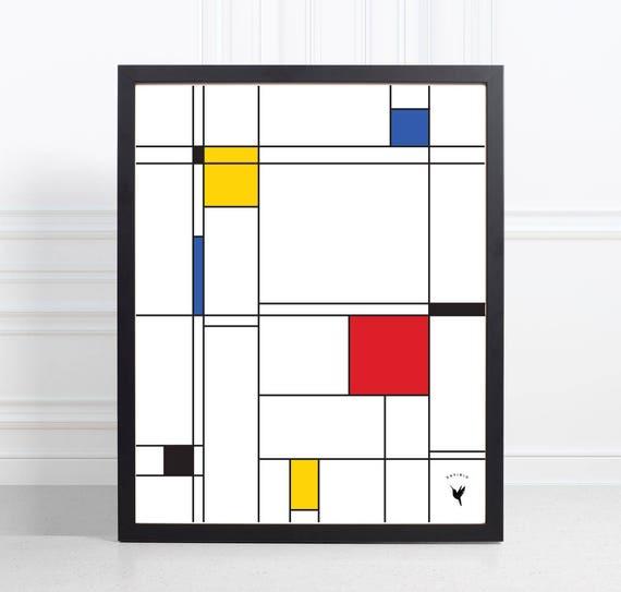 Mondrian-inspired Composition | Geometric Giclée Art Print | Minimalist Design | Geometric Poster | De Stijl | Color Blocks