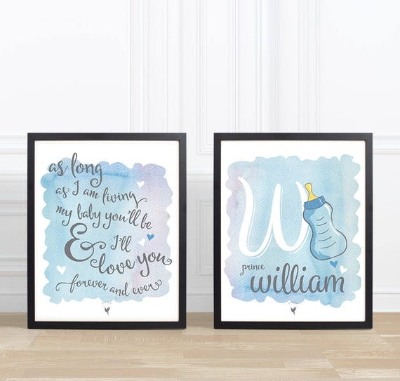My Baby you'll be | Personalized Set of 2 Giclée Art Prints | Blue Gray Nursery Wall Art | Baby Boy Name & Initial | Baby Shower Gift