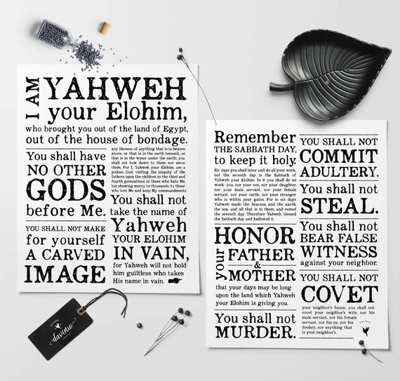 10 Commandments | Set of 2 Giclée Art Prints | Bible Verse | Yahweh | Elohim | Exodus 20 | The Sabbath | The Great I AM | No other Gods