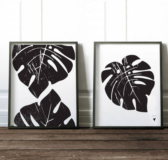 Textured Tropical Monstera Leaves | Set of 2 Abstract Giclee Art Prints | Modern Poster | Extreme Minimalism | Black & White