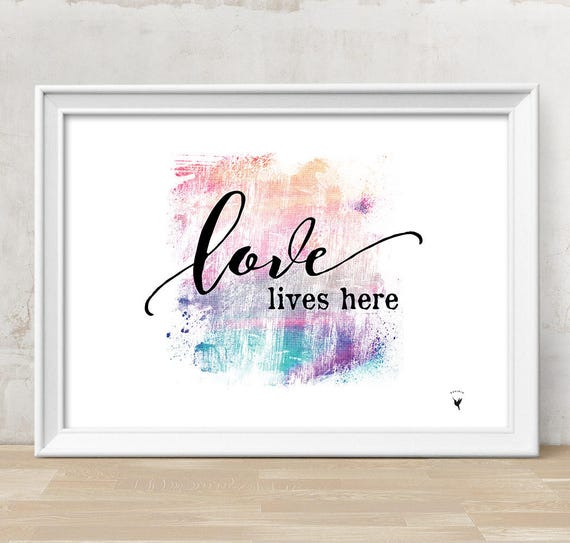 Love Lives Here Giclée Art Print | Home is | Happiness is | Love Print | Family Love | New Home | Typography Art | Love Sign | Nursery Decor