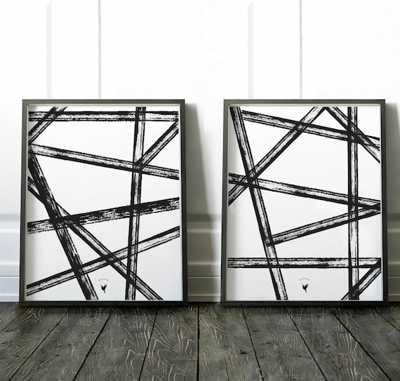 Intersecting Lines | Set of 2 Geometric Abstract Giclee Art Print | Scandinavian Art | Extreme Minimalism | Black and White