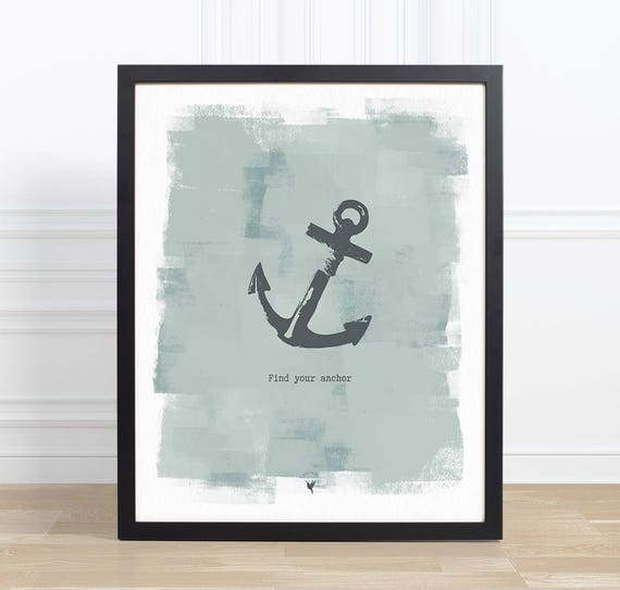 Find Your Anchor // Giclée Art Print | Contemporary Art | Nautical Wall Art | Find Strength | Stability | Hope | Peace | Jesus is my anchor