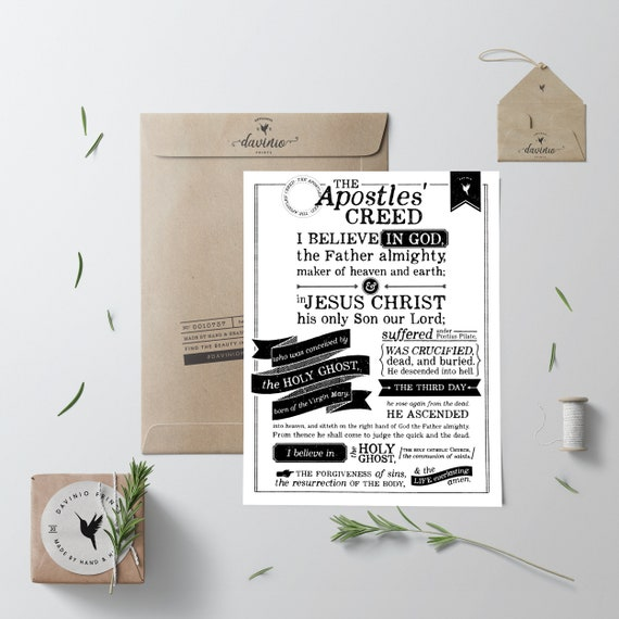 The Apostles' Creed Giclée Art Print | I believe | Apostles' Creed Prayer Poster | Christian Faith | Confirmation Gift | Church Poster