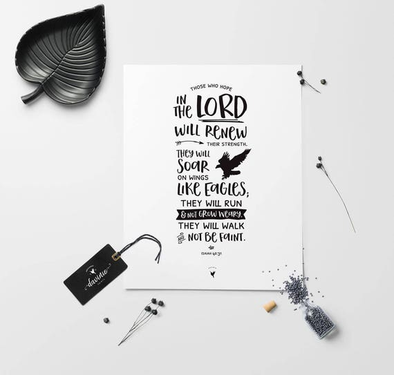 Isaiah 40:31 Giclée Art Print | Christian Journal | Scripture art | Modern Christian art | Hope in The LORD | Wings Like Eagles | Strength