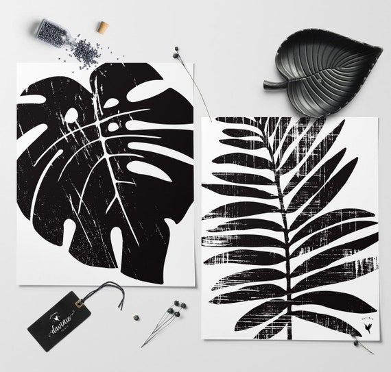 Black & White Textured Palm Leaf and Monstera Leaf - A set of (2) Giclée Art Prints [unframed]