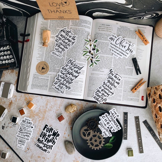 Faith Collection - Vinyl Stickers Bundle of 8 // Live by Faith | Faith is | Olive Tree flourishing | Graves into gardens | Blessed is she