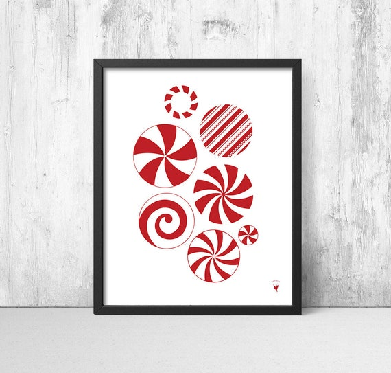 Abstract Christmas Candy Giclée Art Print | Red Christmas Decor | Red & White Candy Stripes | Candy Cane | Winter Wonderland | Candy Mint
