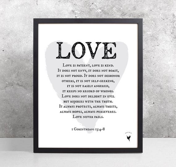 Love is patient, love is kind | 1 Corinthians 13:4-8 Giclée Art Print | Modern Christian Art | Bible verse | Scripture art | Bible Journal