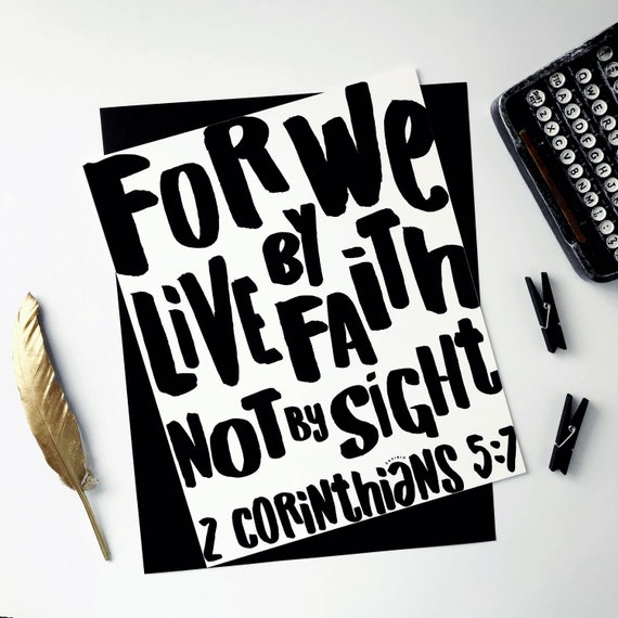 2 Corinthians 5:7 Giclée Art Print | Modern Christian Art | Bible verse | Live by Faith | Not by Sight | My hope is in Jesus | Journaling