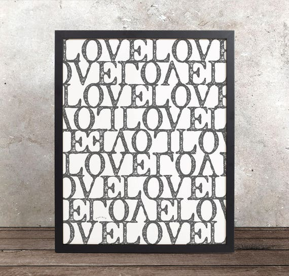 Love Pattern Abstract Giclée Art Print | Anniversary Gift | I love you | Modern Art | Love Typographic Pattern | Love Letter