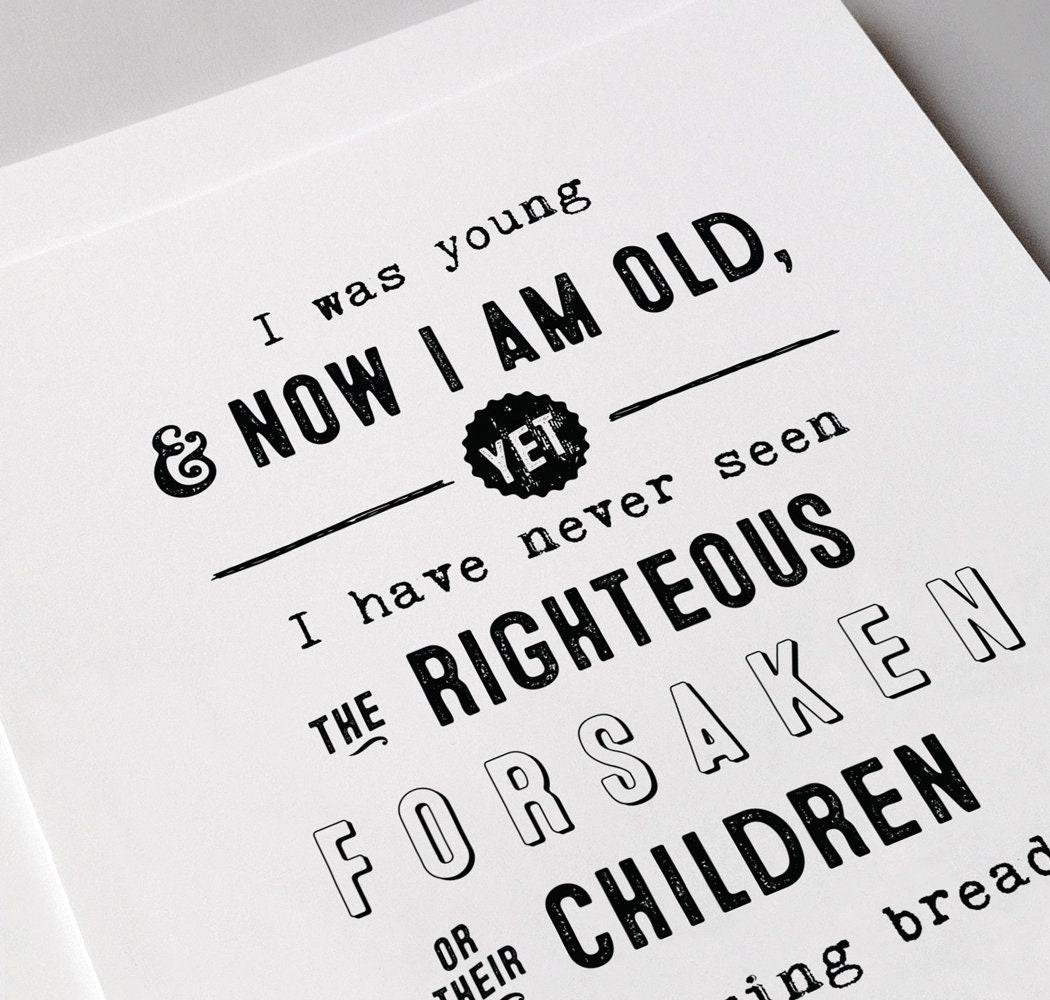 Psalm 37:25 Giclée Art Print | Christian Journal | Scripture art