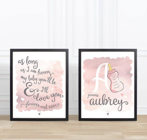 My Baby you'll be | Personalized Set of 2 Giclée Art Prints | Pink Gray Nursery Wall Art | Baby Girl Name & Initial | Baby Shower Gift