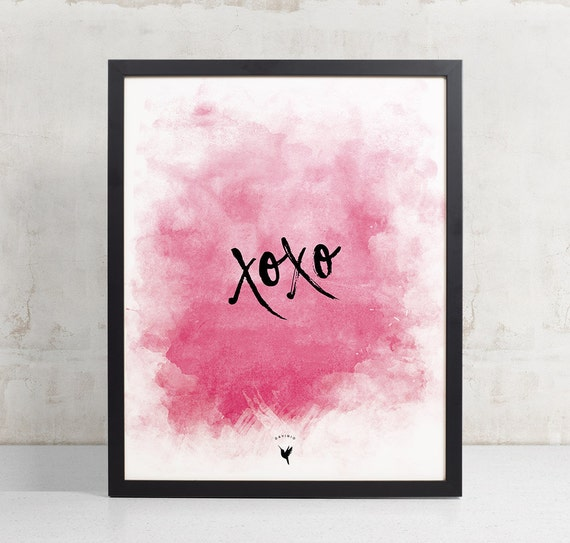 XOXO, Hugs and kisses, Love, Valentine's Giclée Art Print | Gift for her | xoxo wall art | Gift for wife | Home Decor | Love is | Happiness