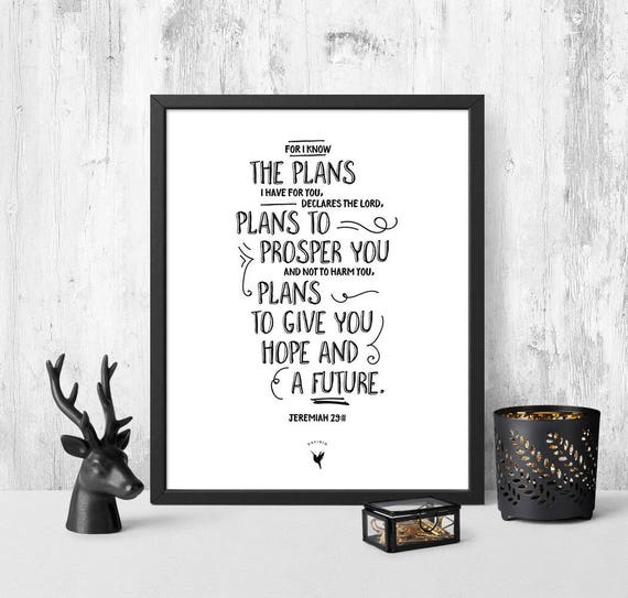 Jeremiah 29:11 Giclée Art Print | Christian Journal | Scripture art | Modern Christian art | For I know the plans I have for you | Hope