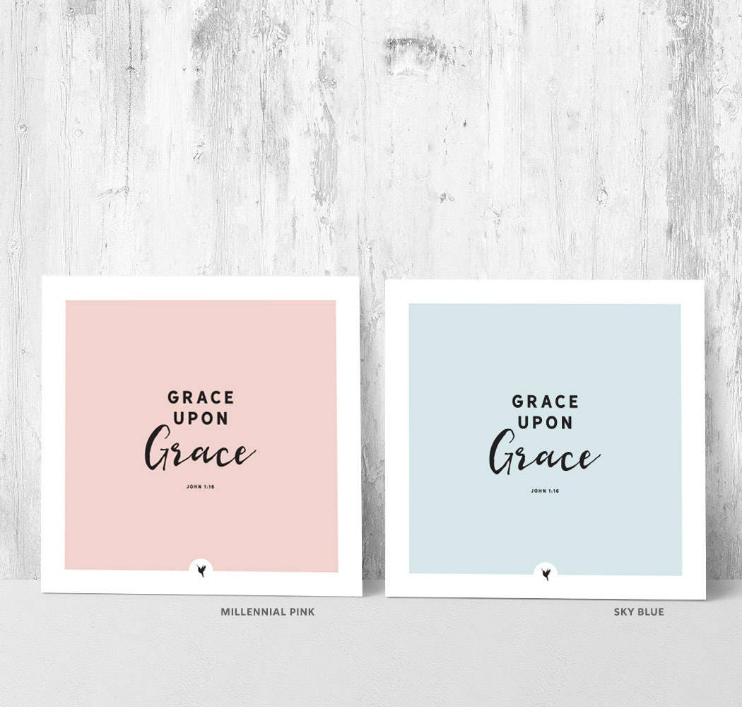 Grace Upon Grace John 1:16 Square Giclée Art Print | Bible ...