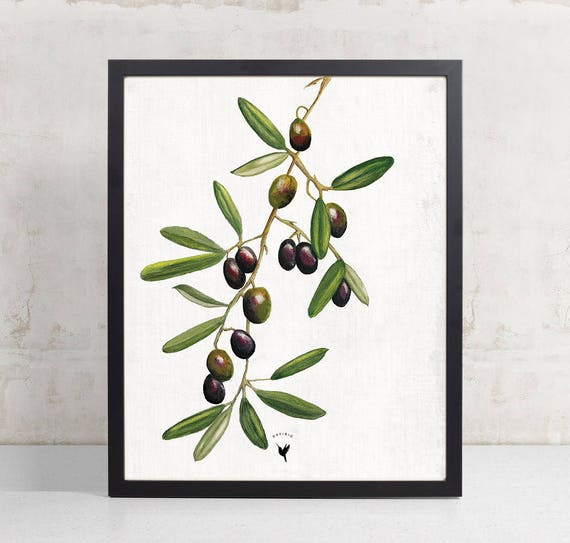 Olive Tree Giclée Art Print | Olive Branches | Olive Leaves | Original Painting | Kitchen Decor | Black and Green Olives
