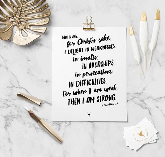 2 Corinthians 12:10 Giclée Art Print | Christian Journal | Scripture art | Modern Christian art | For when I am weak, then I am strong