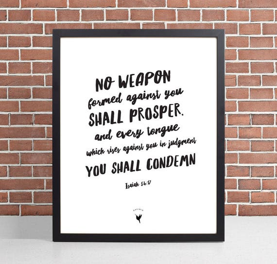 No weapon formed against you shall prosper Isaiah 54:17 Giclée Art Print | Modern Christian Art | Bible verse Scripture art | Jesus Victory