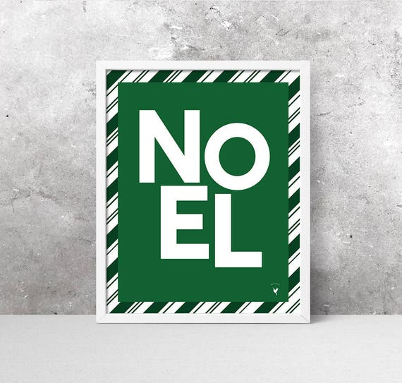 Noel Green Stripes Giclée Art Print | Green Christmas Decor | Candy Stripes | Mint Candy | Candy Cane | Modern Christmas Decor | Joyeux Noel