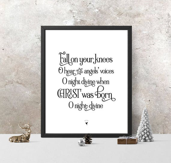 O Holy Night Christmas Song Giclée Art Print | Christmas Gift | Christmas Decor | Fall on your knees O hear the angels' voices night divine