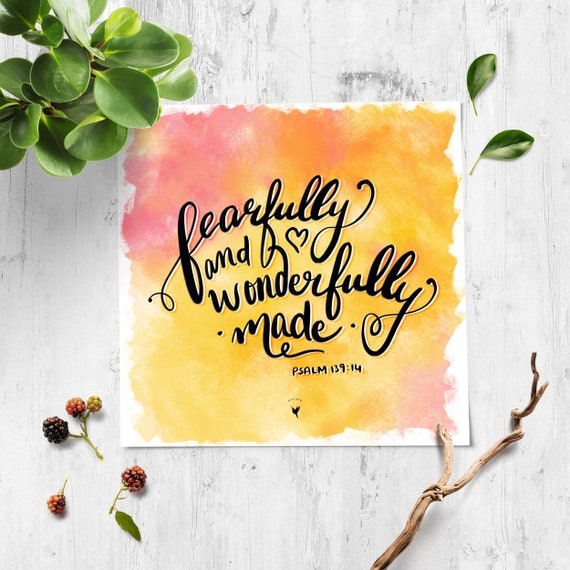 HAND-LETTERED I am Fearfully & Wonderfully Made Square Giclée Art Print | Psalm 139:14 Speak Life | I am uncommonly unique
