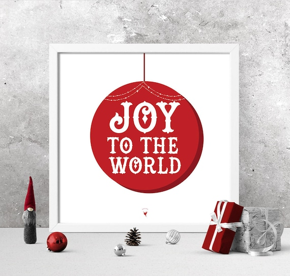 Joy To the World Christmas Giclee Art Print | Red Christmas Decor | Joy | Square Print | Red Candy Stripes | Rejoice | Merry
