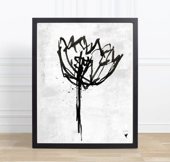 Tulip in Ink Giclee Art Print | Modern Poster | Extreme Minimalism | Black & White | Nature Inspired | Original Art | Made by hand | Floral