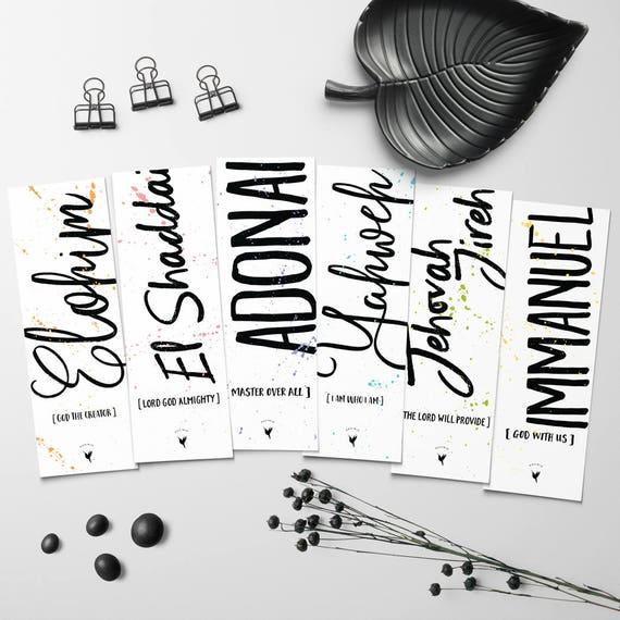 Names of God Artisanal Christian Bookmark Set of (6) // Elohim Yahweh Adonai El Shaddai Jehovah Jireh Immanuel Meaningful gift book lovers