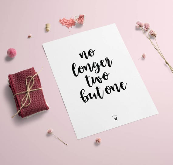 No Longer Two But One - Matthew 19:6 Giclée Art Print | Love Print | Love | Valentine's Day | Me And You | Wedding Gift | Together Forever