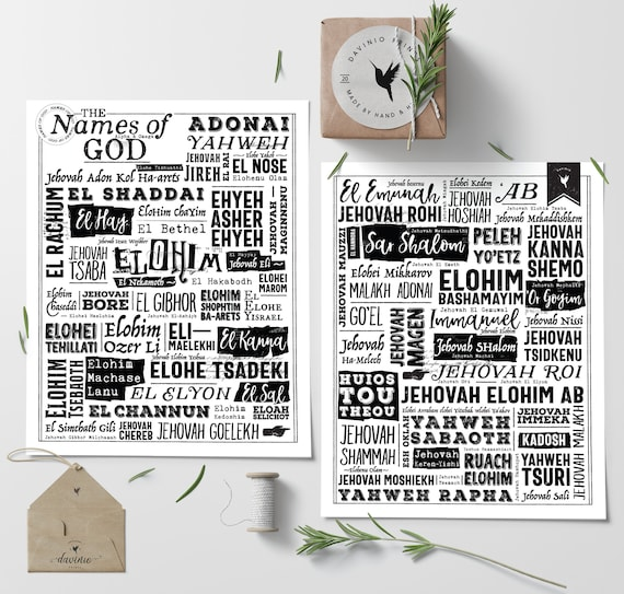 The Names of God | Set of 2 Giclée Art Prints | Yahweh Elohim Adonai El Shaddai The Great I AM The powerful name of Jesus King of Kings