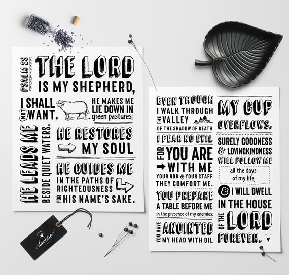 Psalm 23 | Set of 2 Giclée Art Prints | Bible Verse | The Lord is my shepherd I shall not want | The Lord is my provider | Jehovah Rohi