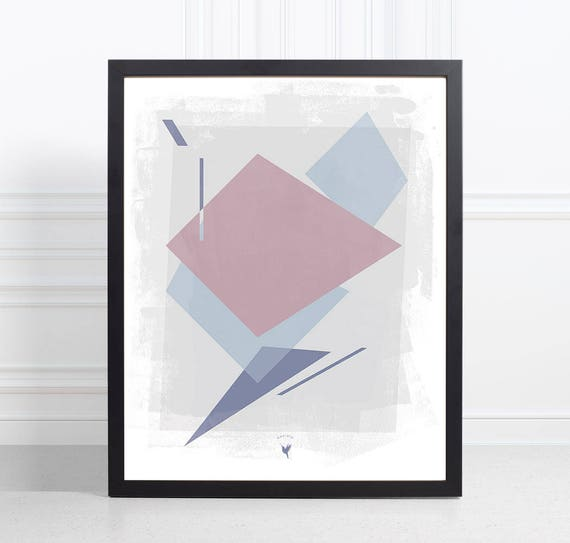 Free Shipping | Perspective Shapes Giclee Art Print | Extreme Minimalism | Contemporary Art | Less is more | Geometric Overlapping Shapes